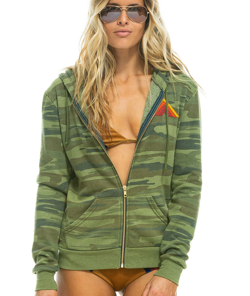 Aviator Nation Women Mountain Camo Zip Hoodie