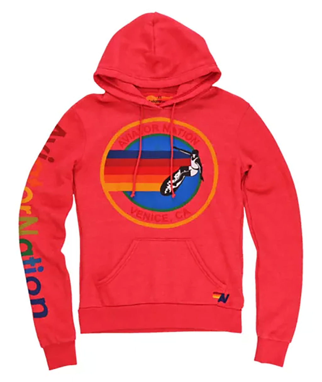 Aviator Nation Women Neon Red Pullover Hoodie
