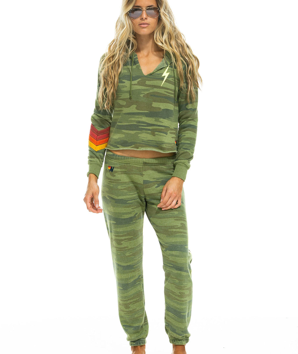 Aviator Nation Women Camo Chevron Bolt Sweatshirt