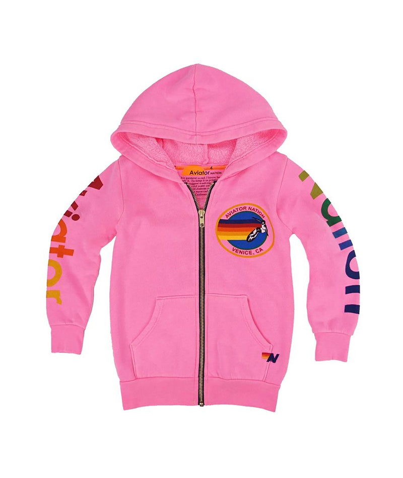 Aviator Nation Girls Pink Rainbow Zip Hoodie