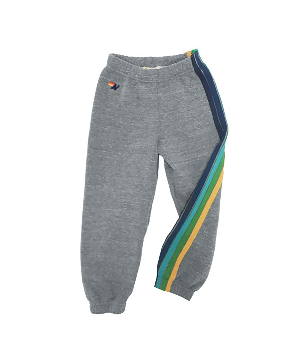 Aviator Nation Girls Heather Grey with Colored Stripes Sweatpants