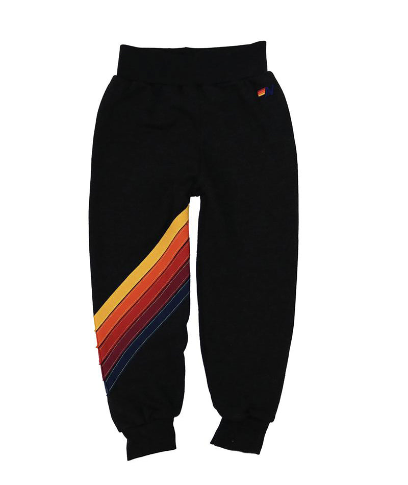 Aviator Nation Girls Black Cross Stripe Sweatpants