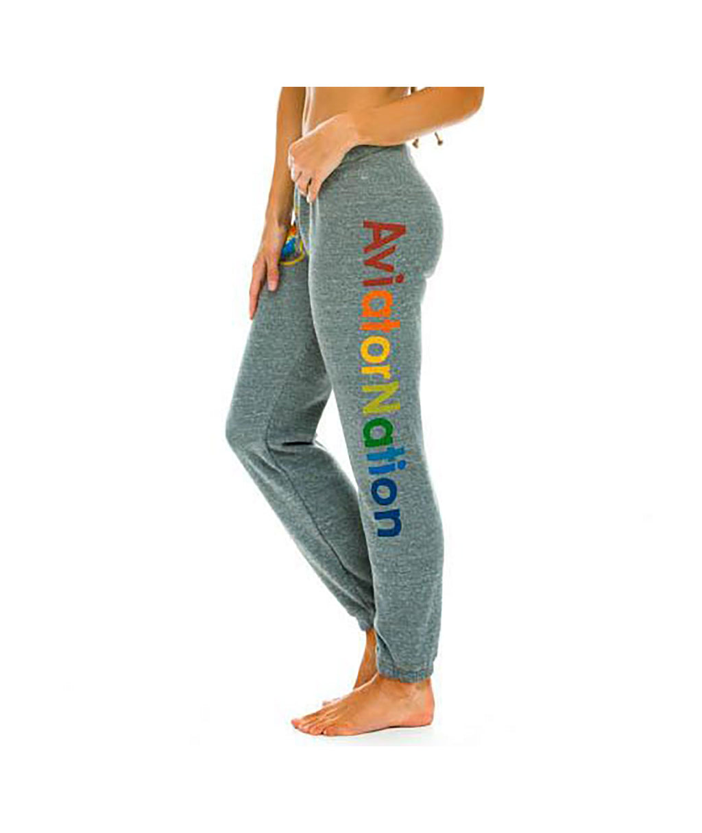 Aviator Nation Women Heather Grey Rainbow Sweatpants