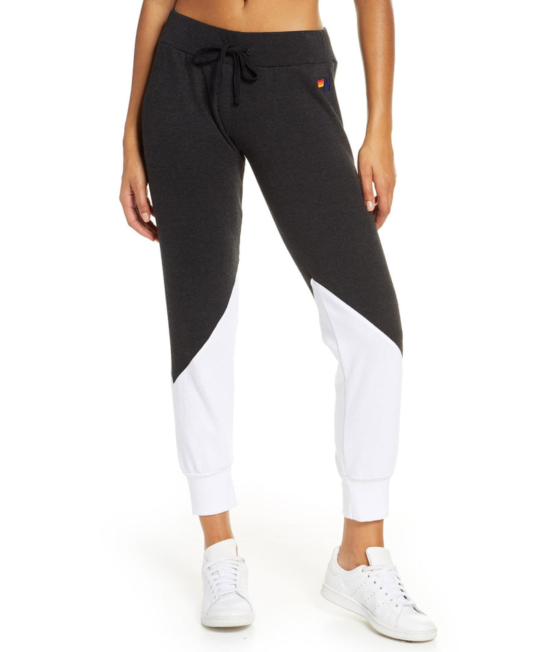 Aviator Nation Women White & Black Glider Sweatpants