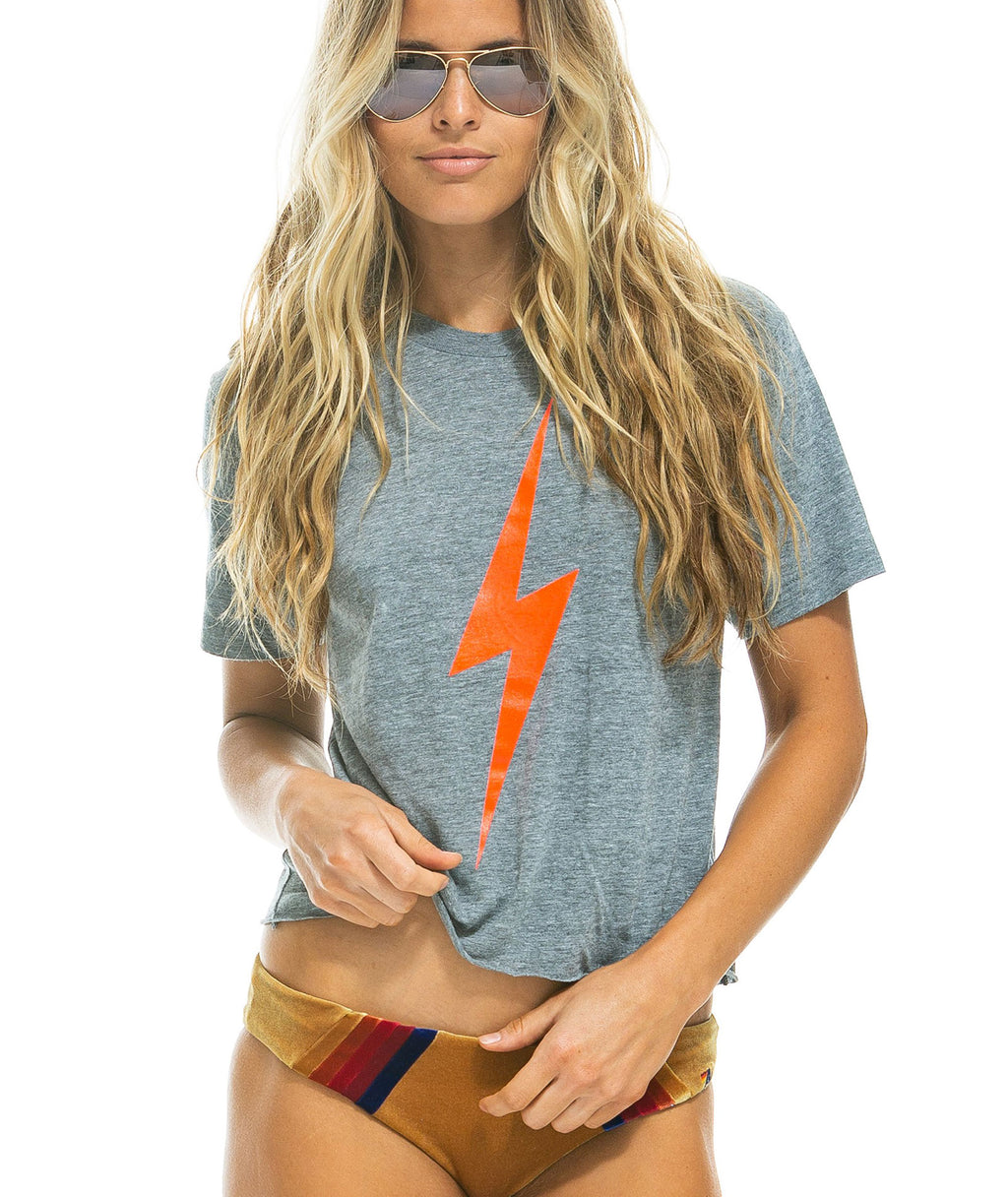 Aviator Nation Women Heather Grey Rad Energy Tee