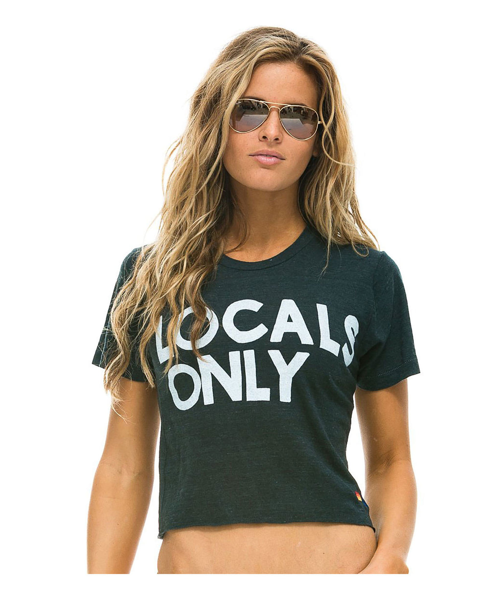 Aviator Nation Women Charcoal Grey Locals Only Tee