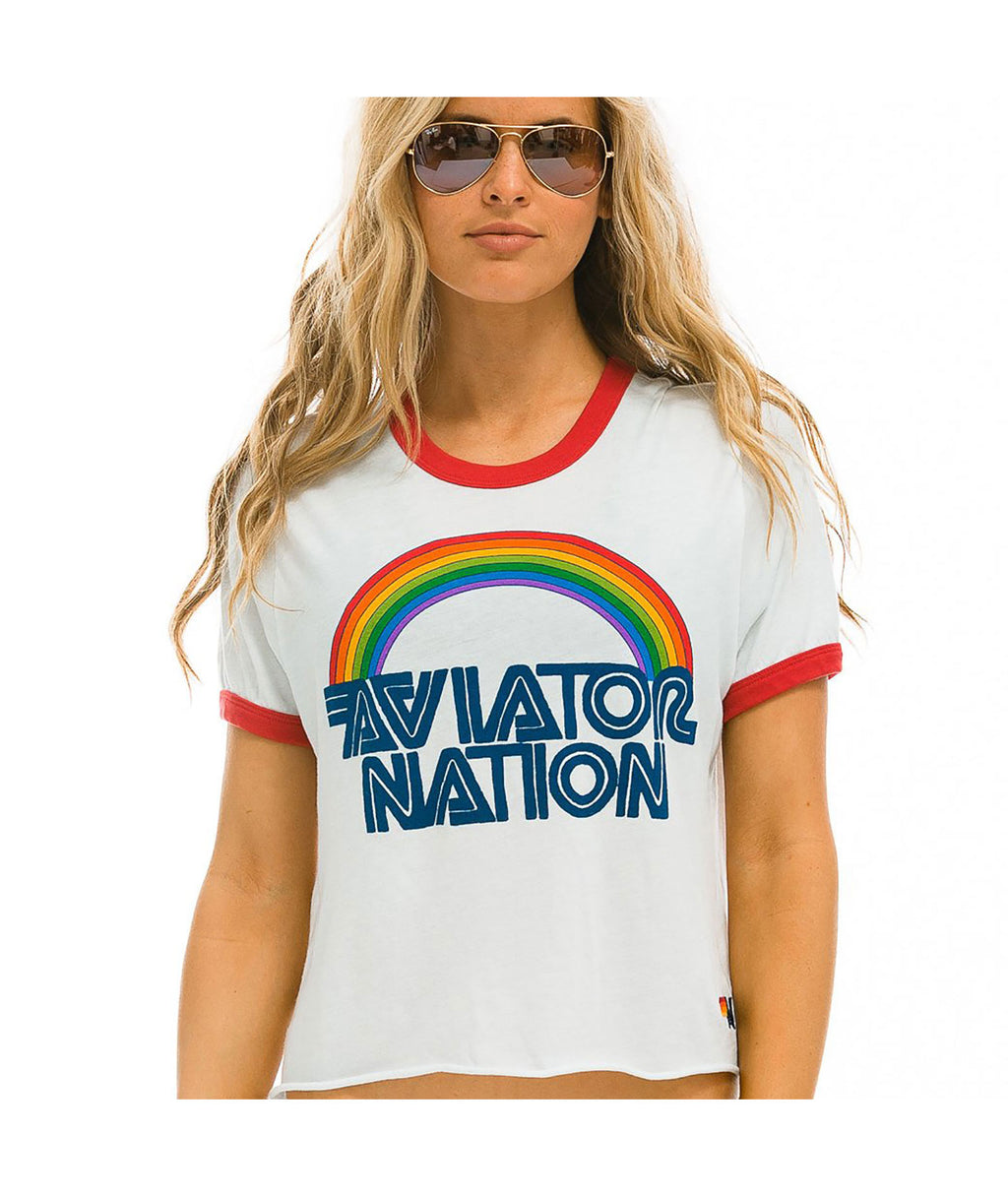 Aviator Nation Women White & Red Ringer Tee