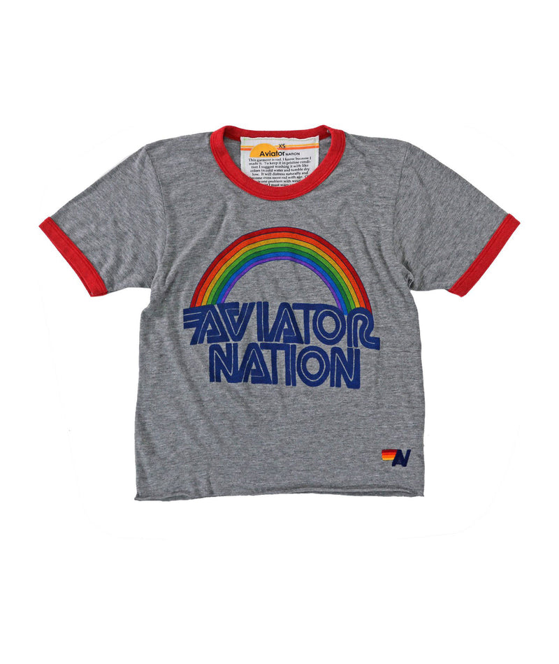 Aviator Nation Women Heather Grey Ringer Tee