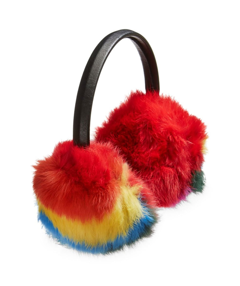 Bari Lynn Black Rainbow Earmuffs