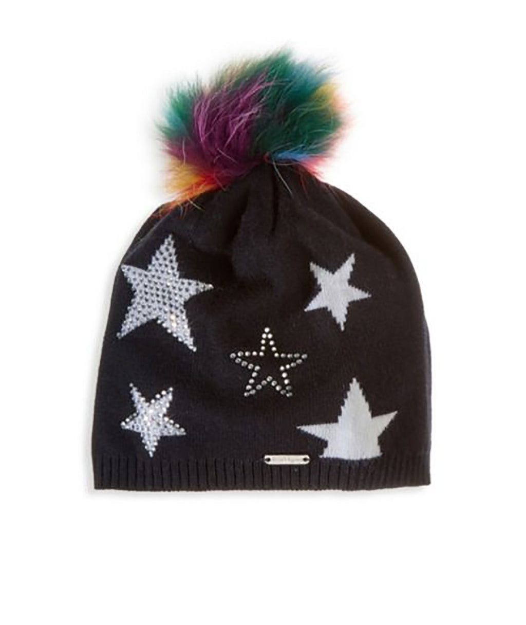 Bari Lynn Black Rainbow Poof Hat