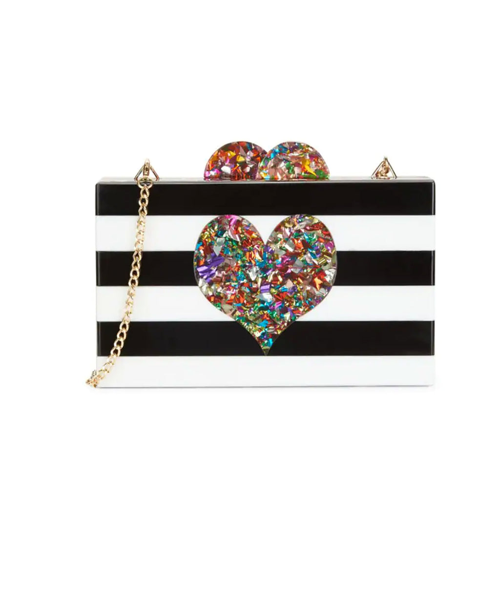 Bari Lynn Confetti Heart Box Bag
