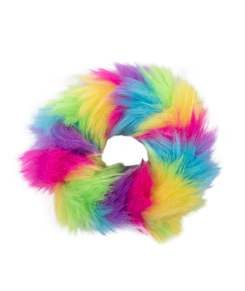 Bari Lynn Rainbow Fur Scrunchie