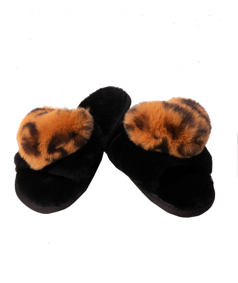 Bean To Tween Women Animal Print Heart Slides