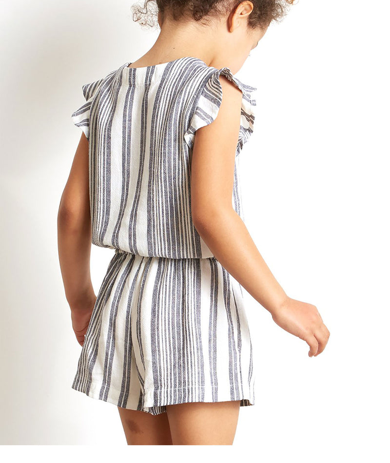 Bella Dahl Girls Ruffle Stripe Romper