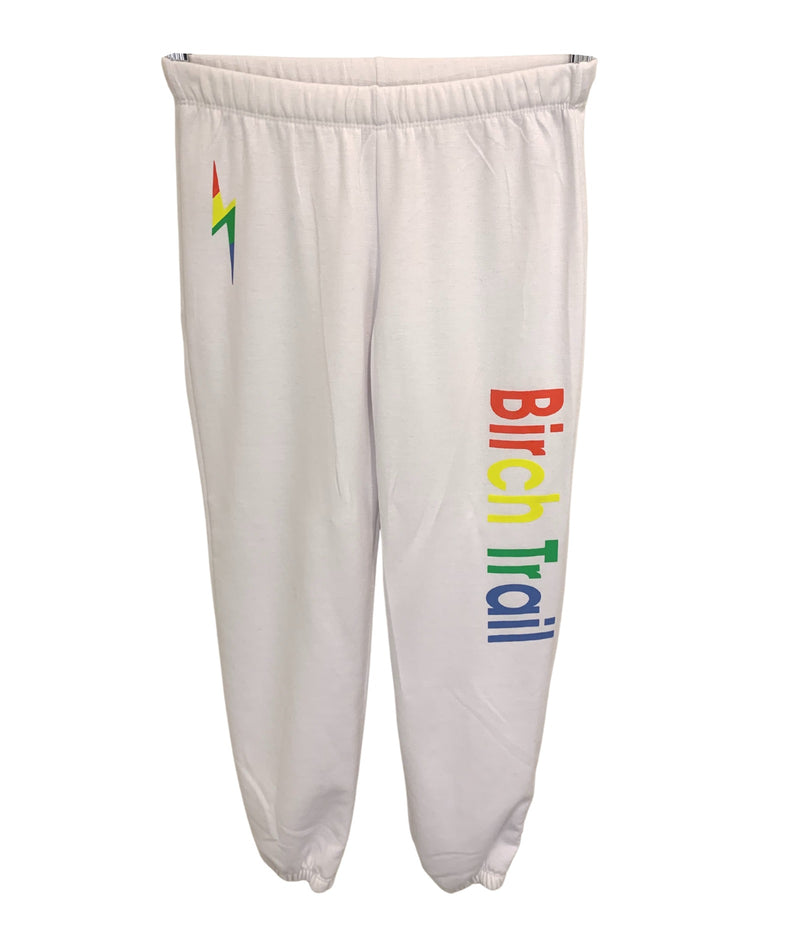 White Sweatpants With Rainbow Camp Lettering and Bolt Girls