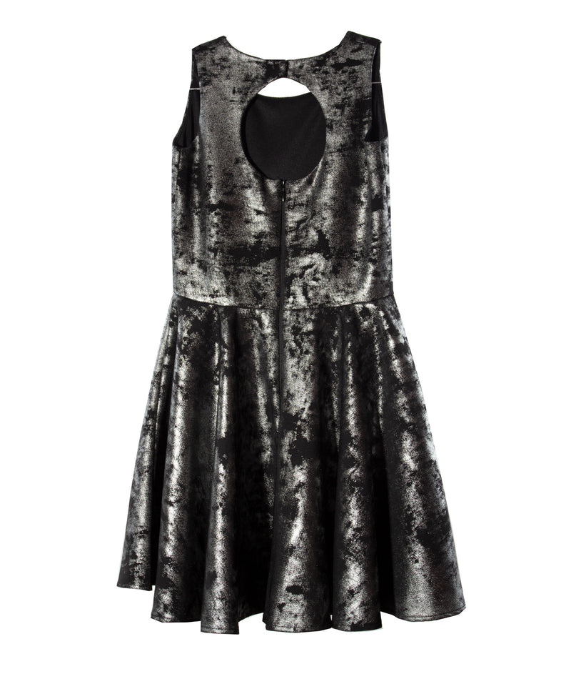 By Debra Girls Black and Silver Tie-Dye Skater Dress