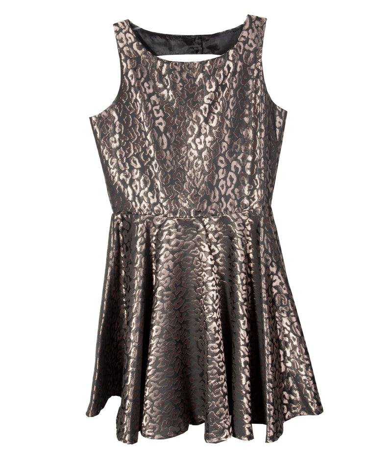 By Debra Girls Bronze Leopard Skater Dress