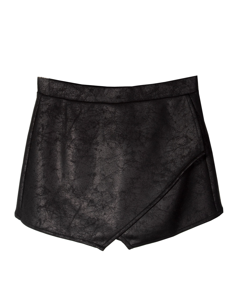 By Debra Girls Black Envelope Leather Skirt