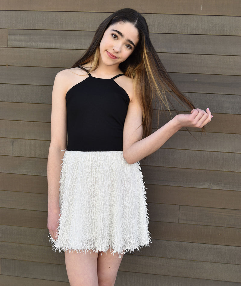 By Debra Girls Black & White Fringe Dress