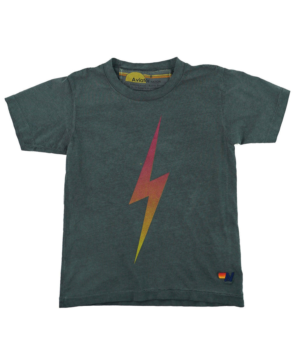 Aviator Nation Girls Charcoal Bolt Fade Tee