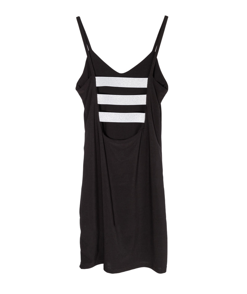 Cheryl Creations Girls Black and Silver Back Strap Dress
