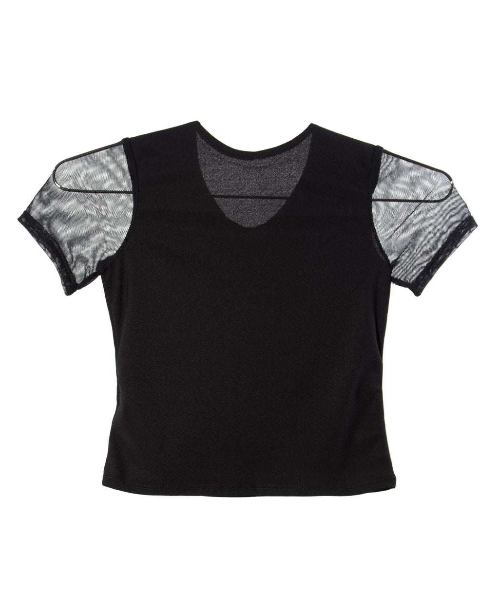 Cheryl Creations Girls Black Mesh Top