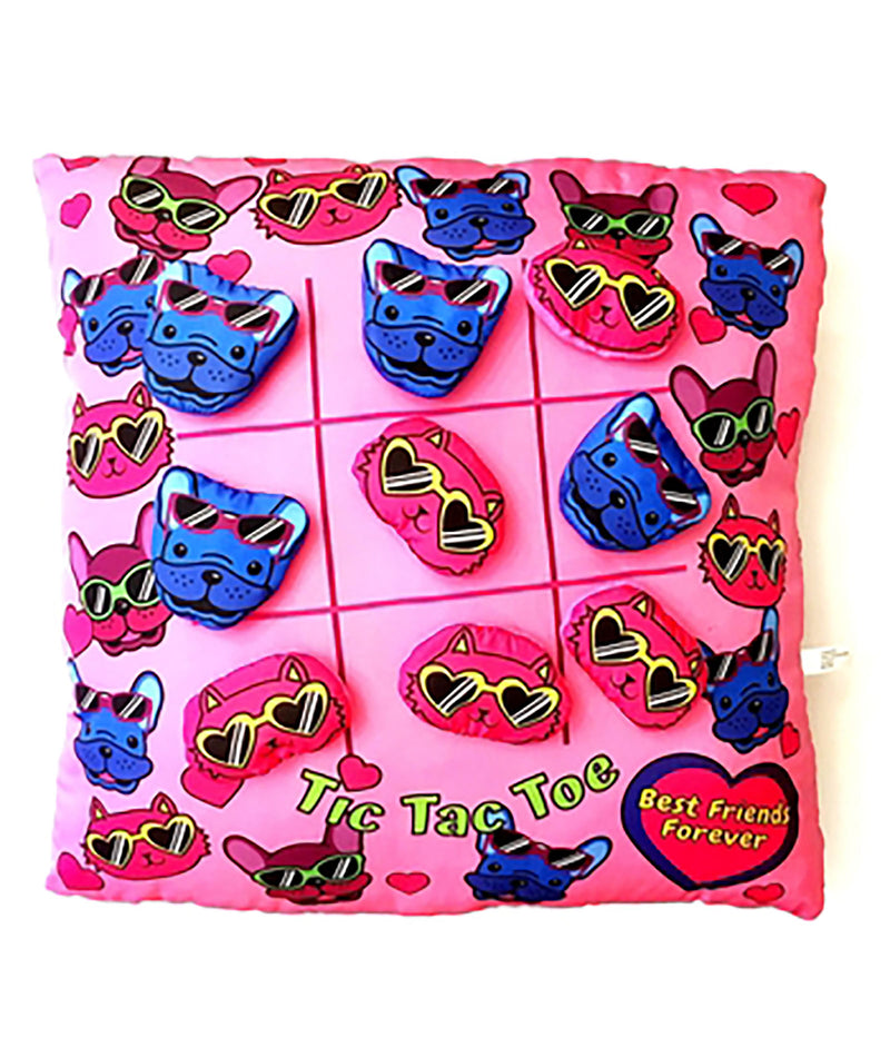 Tic Tac Toe Animal Pink Pillow