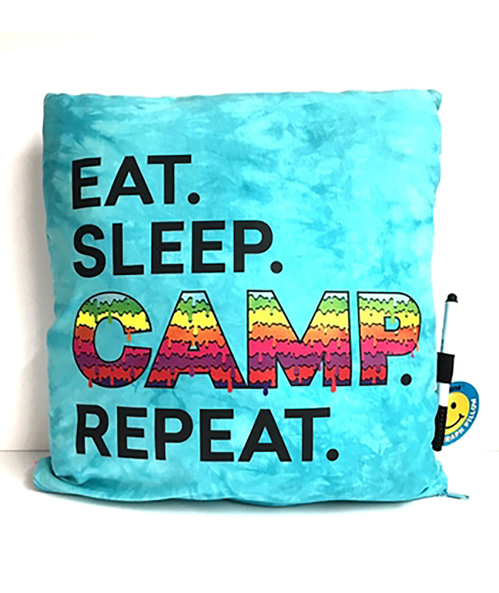 Confetti and Friends Eat, Sleep, Camp Autograph Pillow