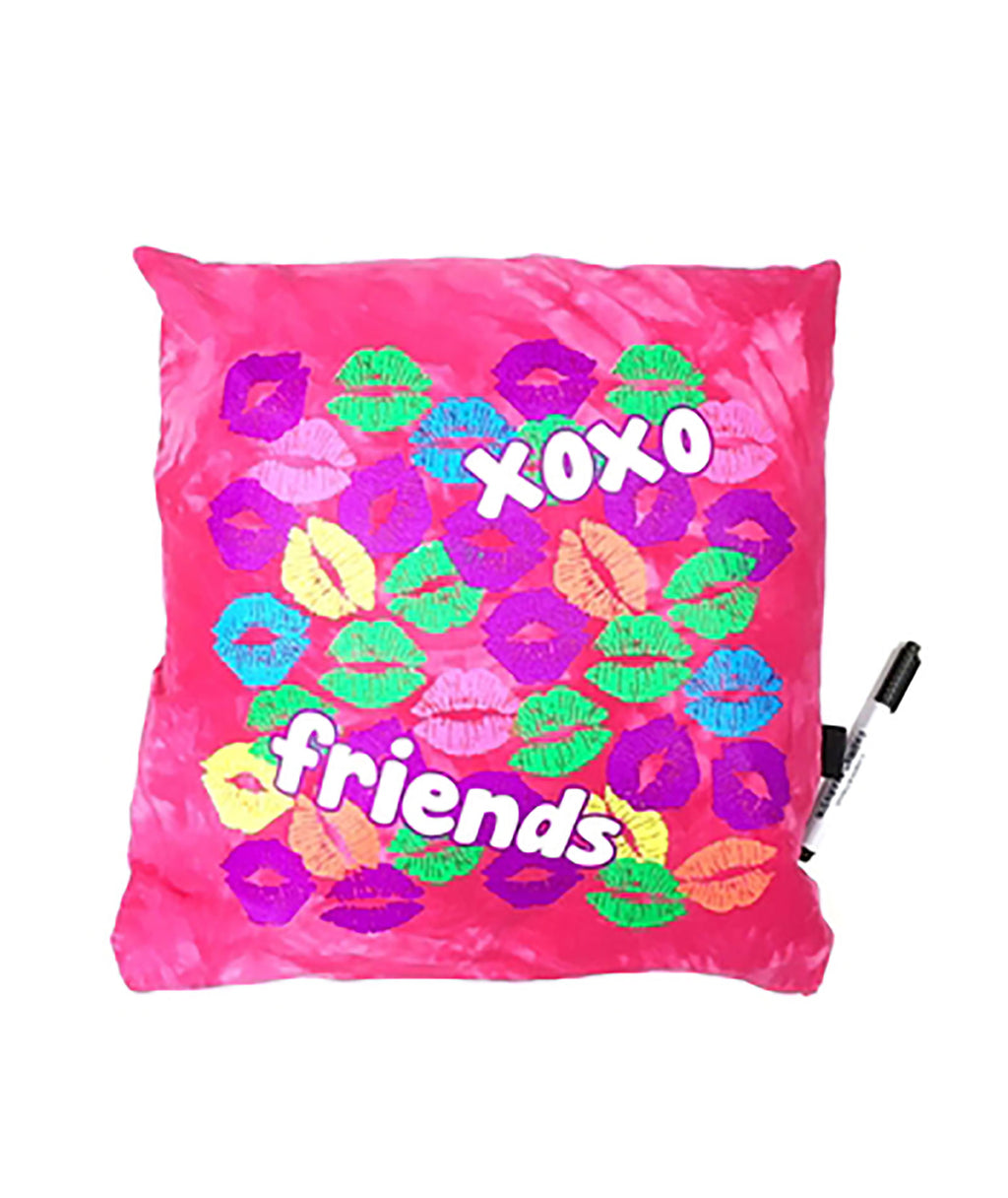 Confetti and Friends Turquoise XOXO Autograph Pillow