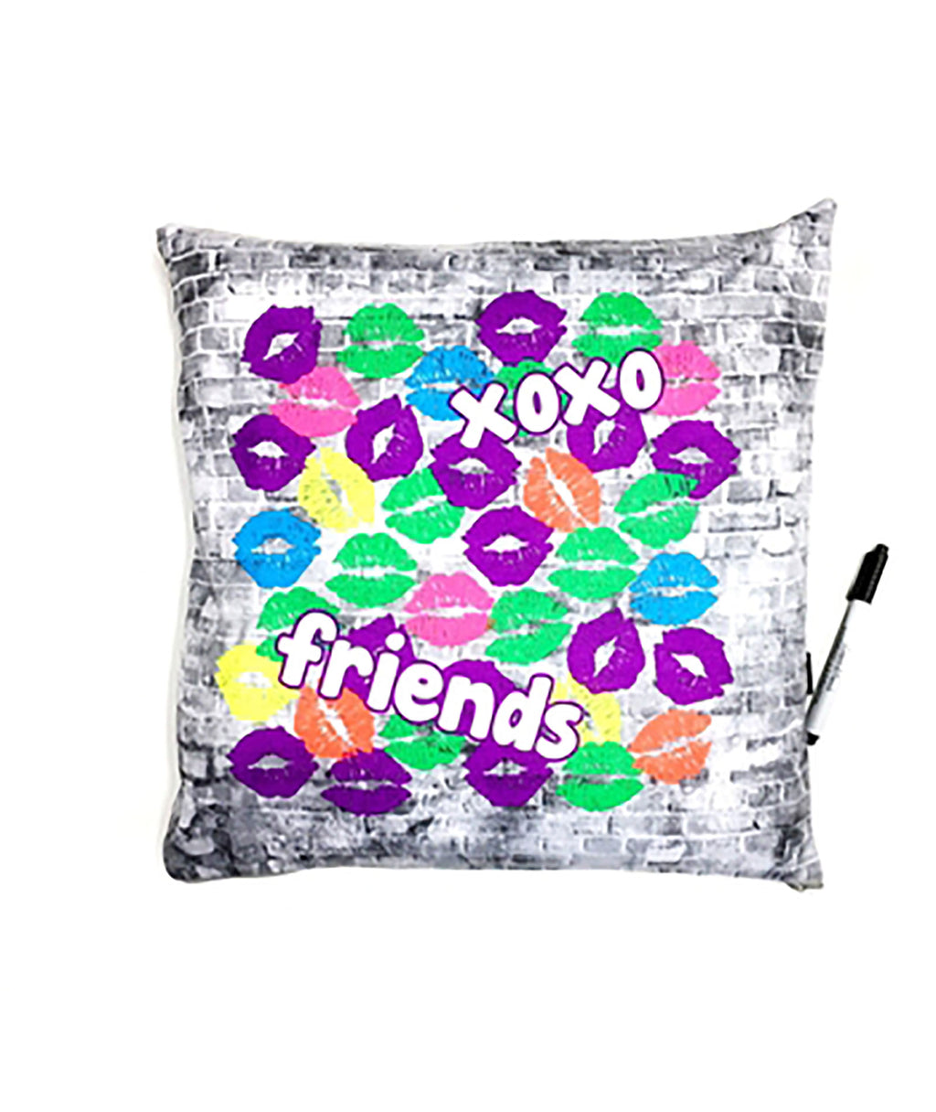 Confetti and Friends Brick Wall XOXO Autograph Pillow