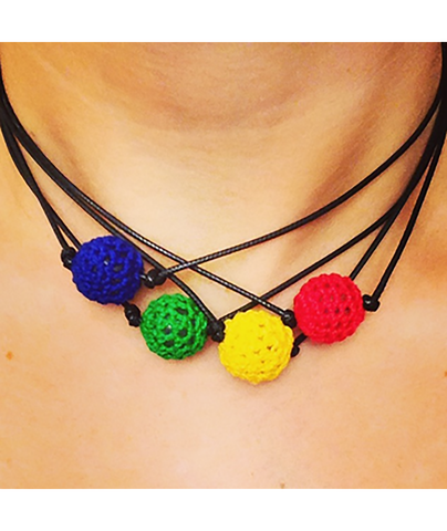 Confetti and Friends Color War Camp Crochet Ball Choker Necklaces - Frankie's on the Park