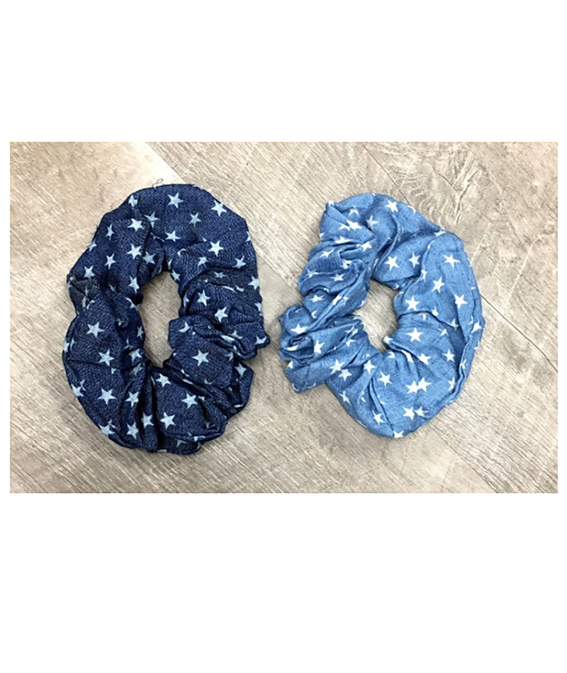 Denim Star Scrunchies