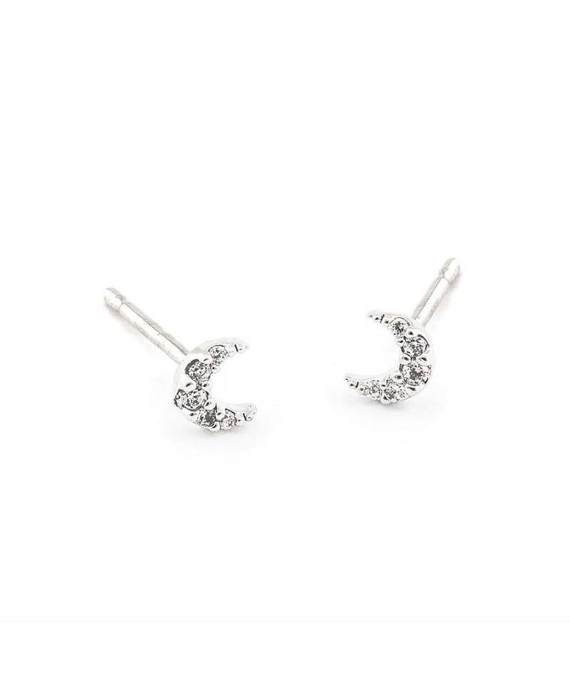 TAI Mini Pave Moon Earrings