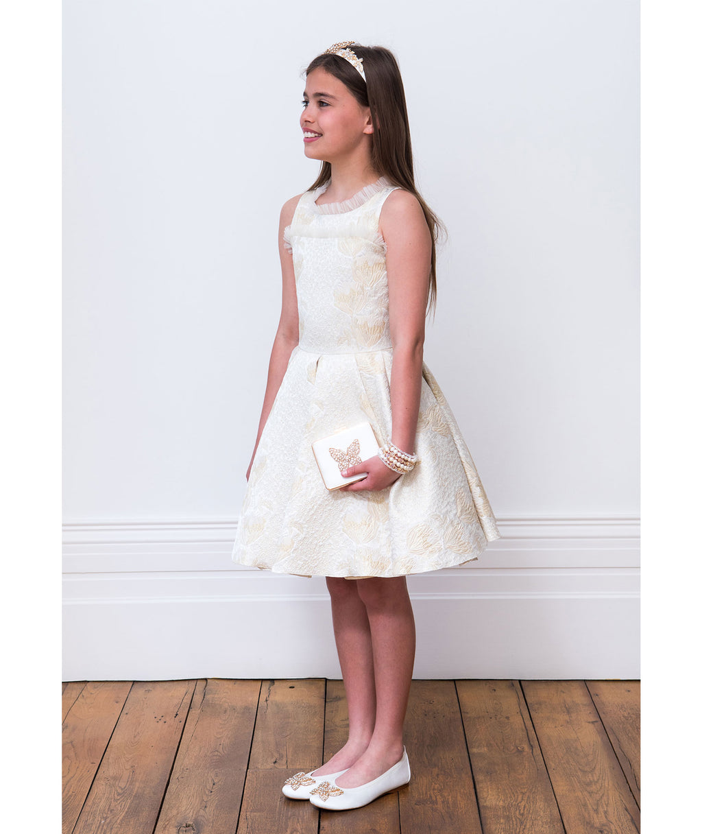 David Charles Girls Brocade Dress