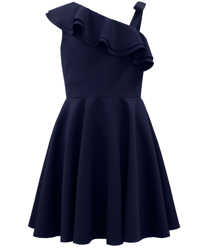 David Charles One Shoulder Navy Flutter Dress