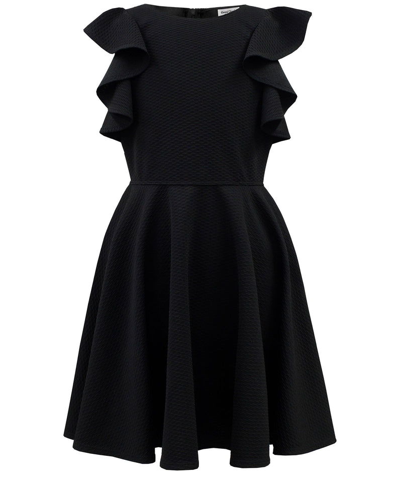 David Charles Girls Black Frill Dress