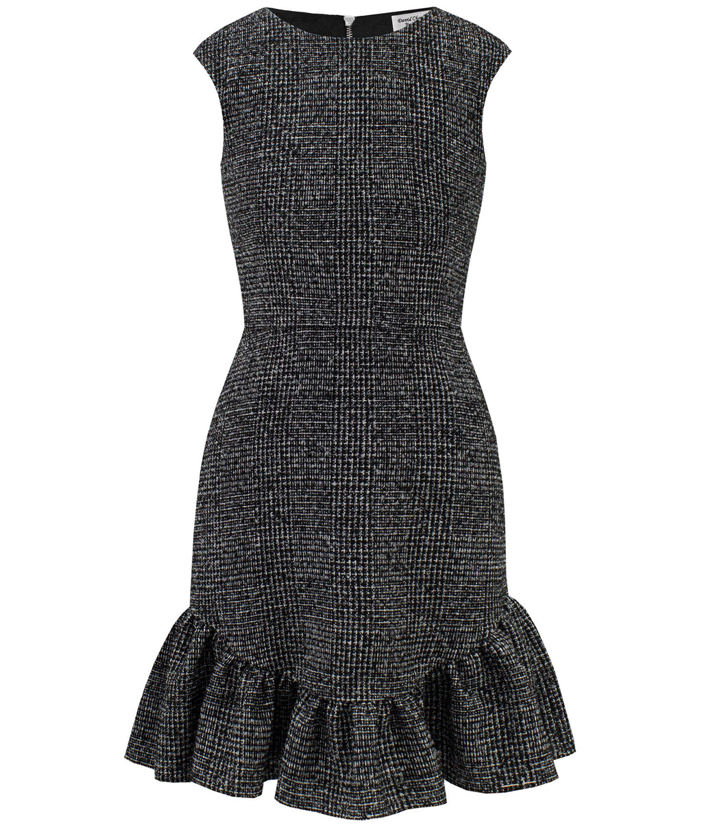 David Charles Girls Black Plaid Dress