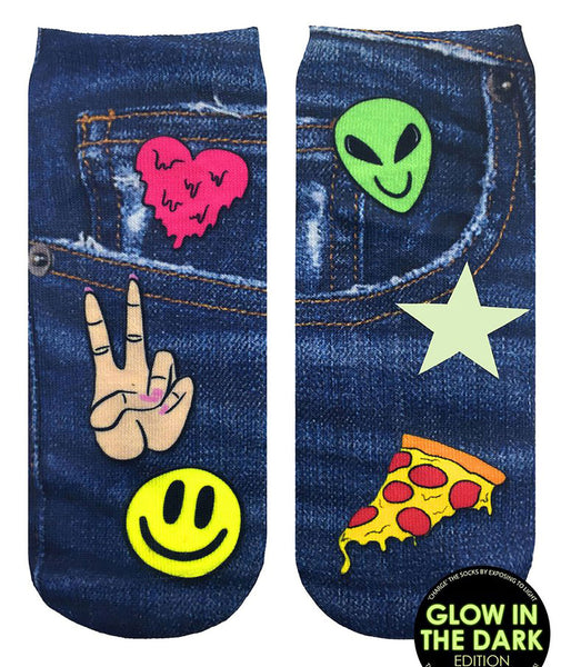 Living Royal Denim Patch Glow in the Dark Socks