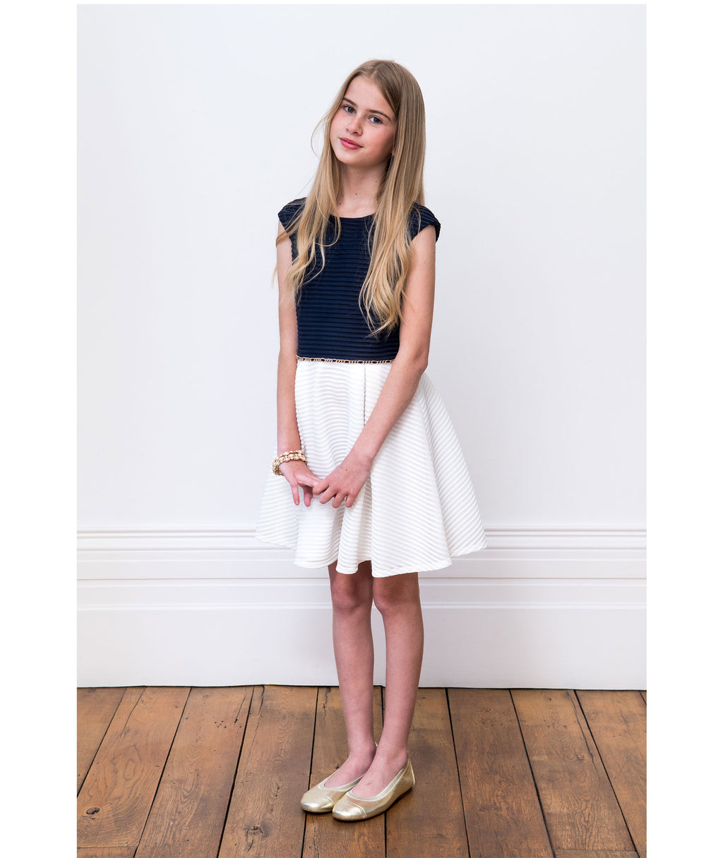 David Charles Girls Navy & Ivory Dress