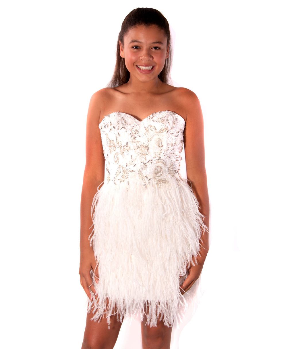 Jovani Women Ivory Feather Strapless Dress