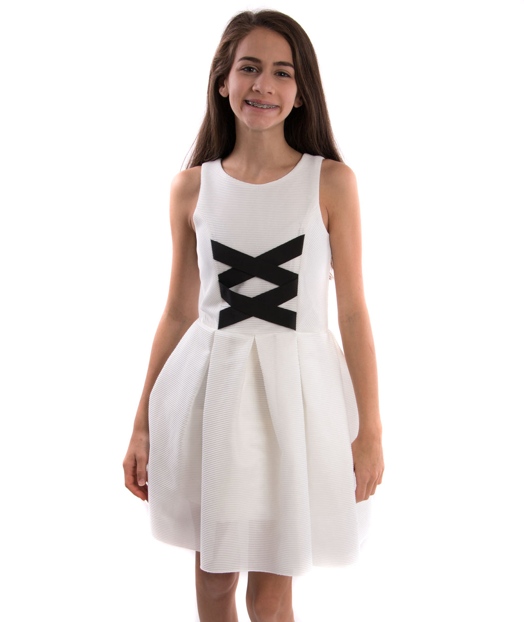 Zoe Ltd. Girls Ballet Cross Black & White Dress - Frankie's on the Park