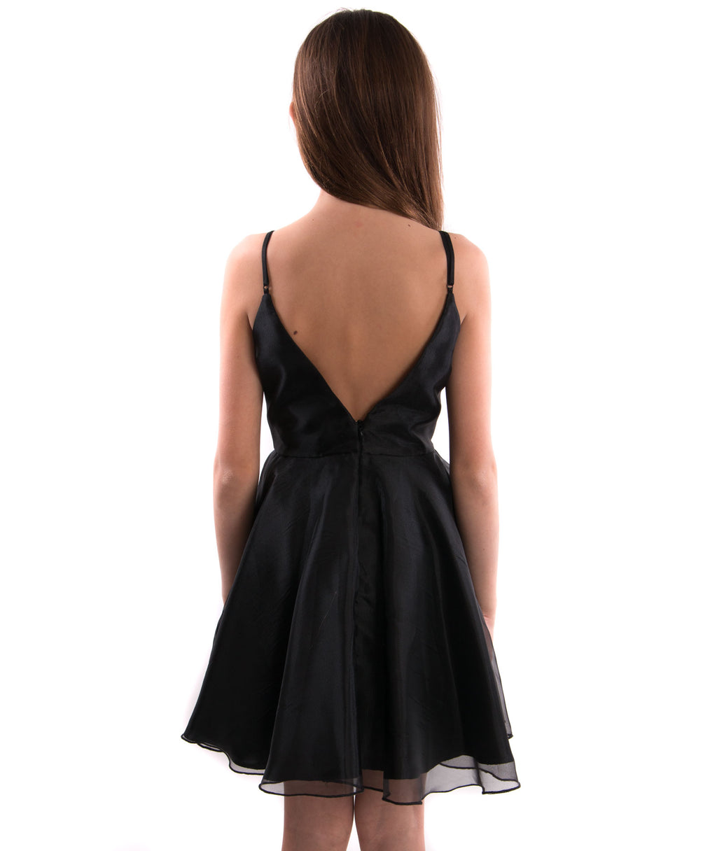 Un Deux Trois Girls V-Back Black Dress - Frankie's on the Park