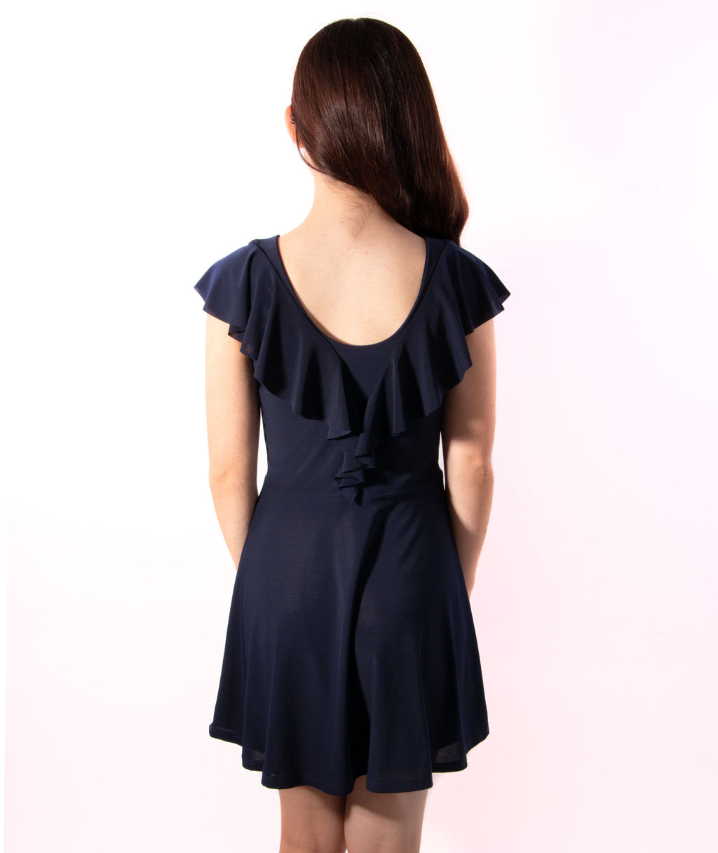 Un Deux Trois Girls Flutter Navy Dress