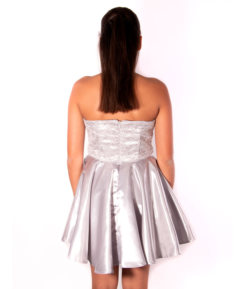 Un Deux Trois Juniors Silver Sequined Dress