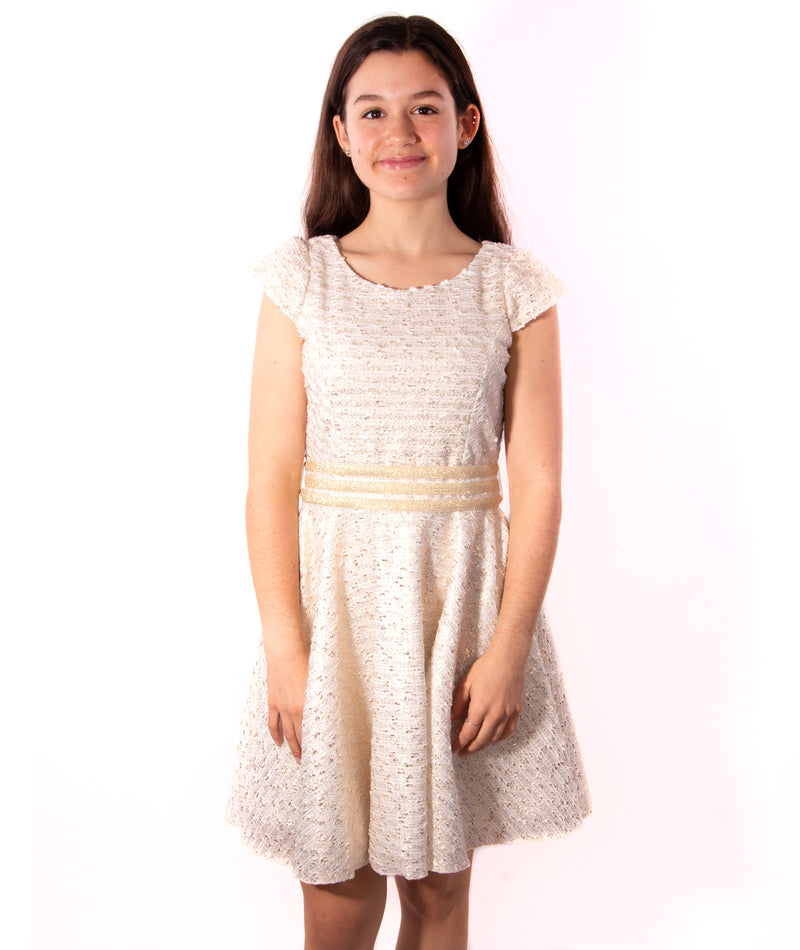 Zoe Ltd. Girls Gold Boucle Knit Dress