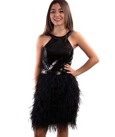 Jovani Womens Two Piece Feather Party Dress
