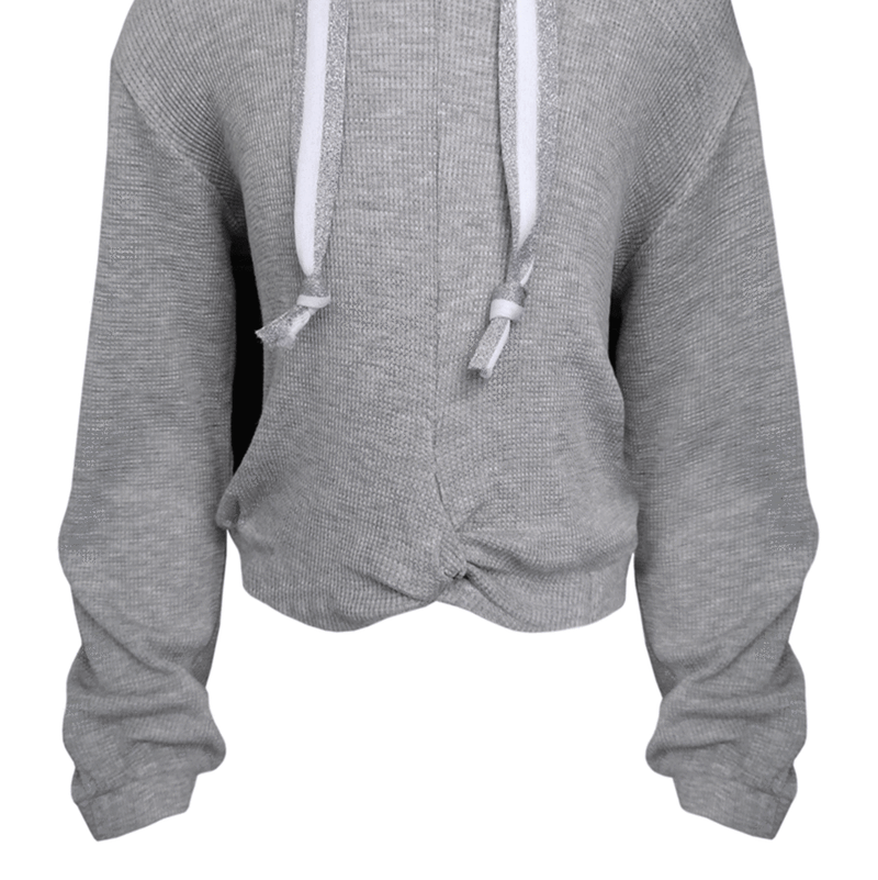 Me.n.u Girls Grey Elastic Twist Hoodie