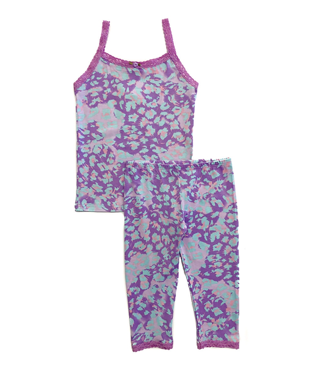 Esme Girls Blue Cheetah Pajama Pant Set