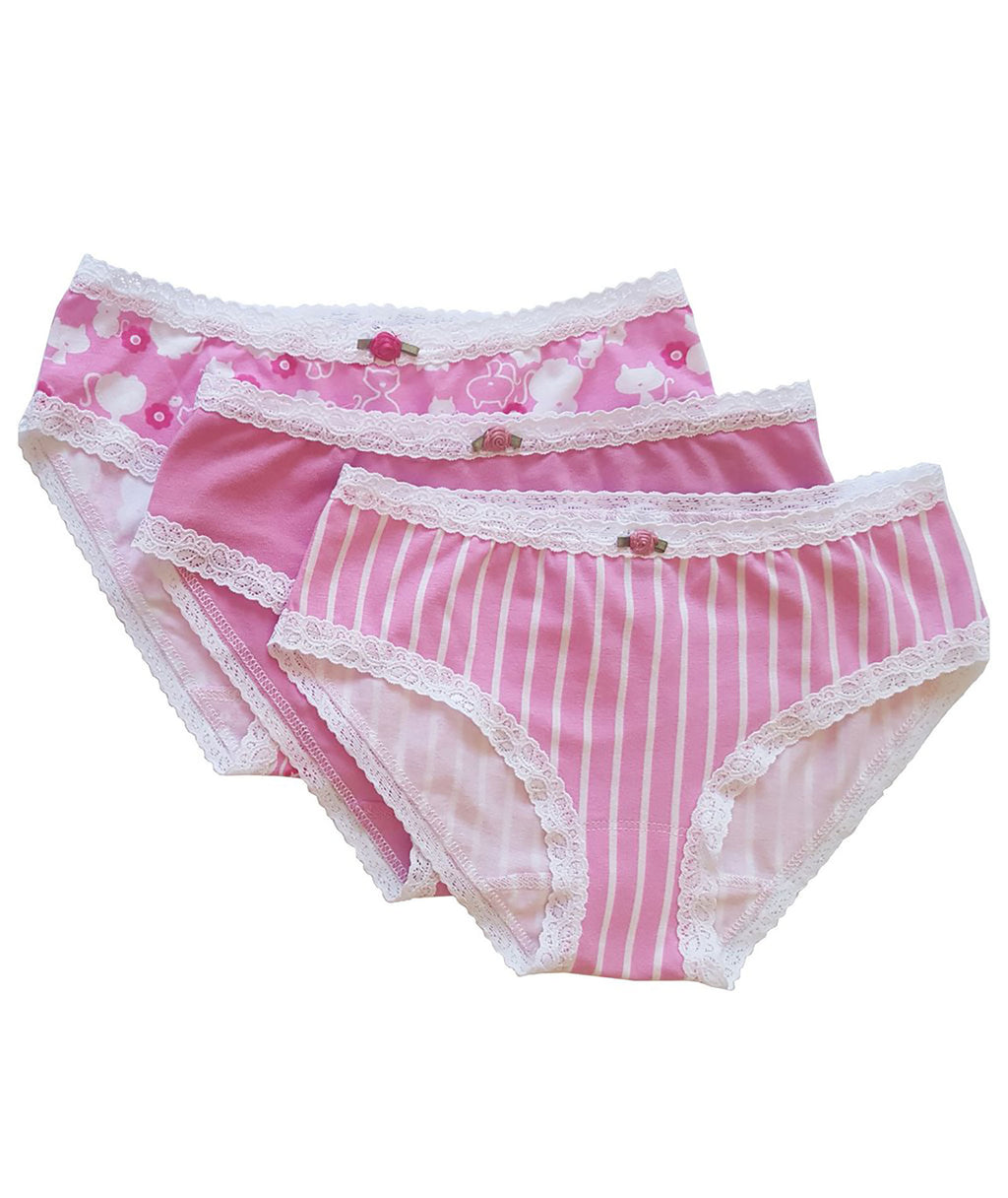 Esme Girls Pink Stripe Pantie Set