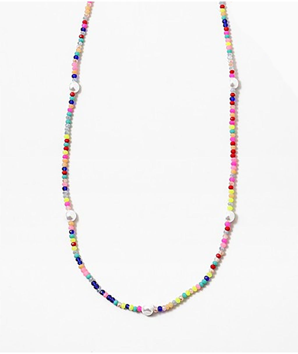 Fashionista J Neon Rainbow Pearl Necklace